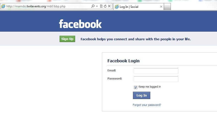 false facebook login