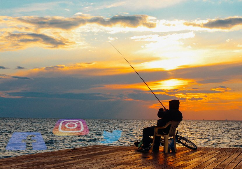 Photo of a man fishing with social media icons in the water